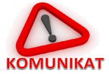Czerwony trójkąt z wykrzyknikiem pośrodku pod spodem napis komunikat