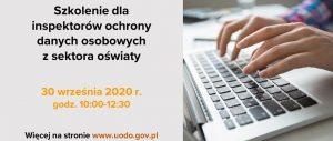 Plakat będący zaproszeniem na szkolenie inspektorów danych osobowych
