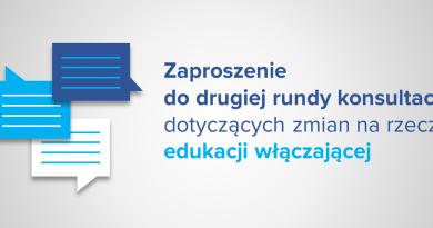 Baner informacyjny z tekstem: Zaproszenie do drugiej rundy konsultacji dotyczących zmian na rzecz edukacji włączającej