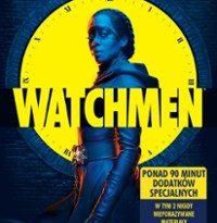 """Zdjęcie okładki filmu: """"Kobieta w niebieskawej poświacie stojąca na tle żółtego zegara"""" Grafika utrzymana w komiksowym stylu."""