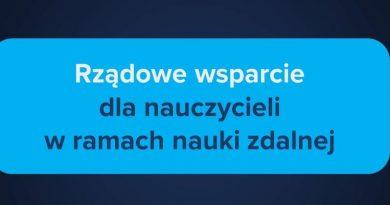 Baner informacyjny z tekstem: Rządowe wsparcie dla nauczycieli w ramach nauki zdalnej