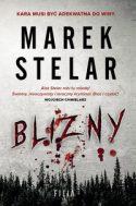 """Zdjęcie okładki książki, pt. """"Blizny"""" - krwawe litery wyryte na tle lasu."""