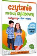 """Zdjęcie okładki książki, pt. """"Czytanie metodą sylabową"""" - dumnie stojące dzieci chłopiec i dziewczynka z rękami zaplecionymi na piesiach."""