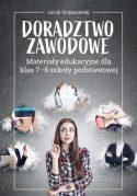 """Zdjęcie okładki książki, pt. """"Doradztwo zawodowe"""" - zamyślona młoda kobieta z uniesionym palcem w tle chmurki obrazujące różne zawody."""