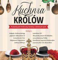Zdjęcie okładki książki - na stole rozłożone talerze na których zamiast potraw leżą hełm, biret, kapelusz i na środku korona królewska stylistyka nawiązuje do restauracyjnego menu.