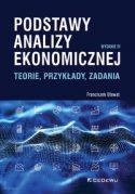 """Zdjęcie okładki książki, t. """"Podstawy analizy ekonomicznej : teorie, przykłady, zadania"""" - ikonki różnych wykresów ułożone w kilku rzędach."""