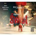 Zdjęcie okładki audiobooka: zgrabne nogi kobiety ubranej w czerwoną spódnicę i buty na czerwonych obcasach.