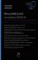 """Zdjęcie okładki książki, pt. """"Wirus SARS-CoV-2 wywołujący COVID-19"""" - zwarty blok tekstu pisany białymi literami na czarnym tle."""