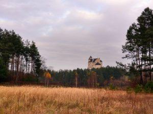 Zamek w Bobolicach widziany z rozległej polany okolonej drzewami lasu