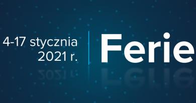 Baner informacyjny z teksem: 4-17 stycznia 2021 Ferie