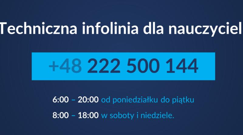 Baner informacyjny z tekstem: Techniczna infolinia dla nauczycieli +48 222 500 144 6:00 - 20:00 od poniedziałku do piątku 8:00 - 18:00 w soboty i niedziele.