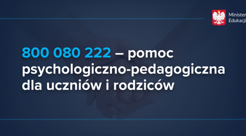 Baner informacyjny z tekstem: Ministerstwo Edukacji i Nauki 800 080 222 – pomoc psychologiczno-pedagogiczna dla uczniów i rodziców