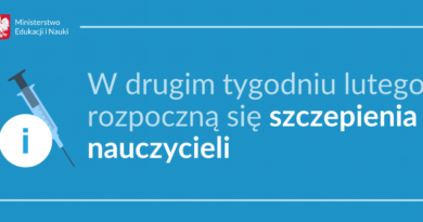 Baner informacyjny z teksem: Ministerstwo Edukacji i Nauki W drugim tygodniu lutego rozpoczną się szczepienia nauczycieli.