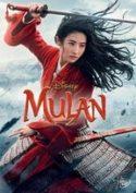 """Zdjęcie okładki filmu """"Mulan"""" - młoda piękna kobieta gotowa do zadania ciosu uniesionym nad rozwianymi długi włosami mieczem."""