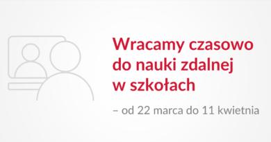 Baner informacyjny z tekstem: Wracamy czasowo do nauki zdalnej w szkołach od 22 marca do 11 kwietnia.