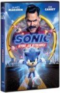 """Zdjęcie okładki filmu """"Sonic - szybki jak błyskawica"""" - animowana postać jeża o imieniu Sonic gnającego z prędkością światła wśród elektrycznych rozbłysków."""