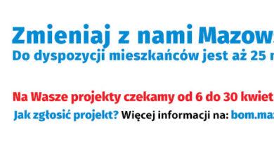 Baner informacyjny z tekstem: Budżet Obywatelski Mazowsza - Zmieniaj z nami Mazowsze - do dyspozycji mieszkańców jest aż 25 mln zł! - Na wasze projekty czekamy od 6 do 30 kwietnia 2021 r. Jak zgłosić projekt? Więcej informacji na: bom.mazovia.pl