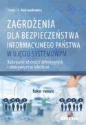 """Zdjęcie okladki książki, pt. """"Zagrożenia dla bezpieczeństwa informacyjnego państwa""""."""