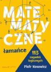 """Zdjęcie okładki książki, pt. """"Matematyczne łamańce : 113 zagadek logicznych """" - figury geometryczne wyrysowane na żółtym tle."""