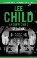 """Zdjęcie okładki książki, pt. """" Strażnik"""" - mężczyzna stojący na skraju żelaznego mostu rozświetlonego latarniami."""