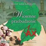 """Zdjęcie okładki audiobooka, pt. """"Wiosenne przebudzenie"""" - zielony liść klonu nad zdjęciem całującej się pary poniżej zabytkowy kamienny most"""
