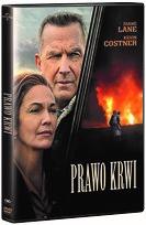 """Zdjęcie okładki filmu, pt. """" Prawo krwi"""" - dojrzala para patrzy z niepokojem przed siebie, na drugim planie wizerunek człowiek na tle płomieni."""