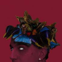 Kolorowe motyle na głowie człowieka o czerwonej twarzy.