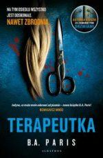 Okładka książki - obcięty warkocz jasnych włosów, obok leżą zakrwawione nożyce.