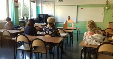 Prezentacja prowadzona przez pracownika biblioteki w klasie szkolnej
